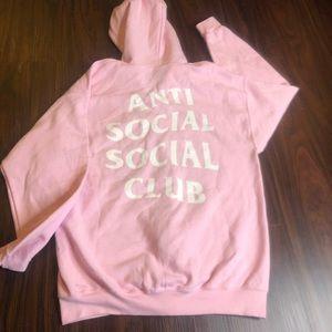 Anti social social club baby pink hoodie